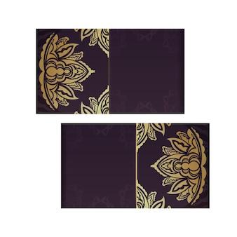Cartão de visita cor de vinho com luxuoso padrão dourado para sua marca.