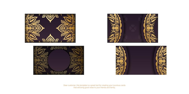 Cartão de visita cor de vinho com luxuosos ornamentos de ouro para sua personalidade.