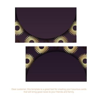 Cartão de visita cor de vinho com ornamento mandala de ouro para a sua personalidade.