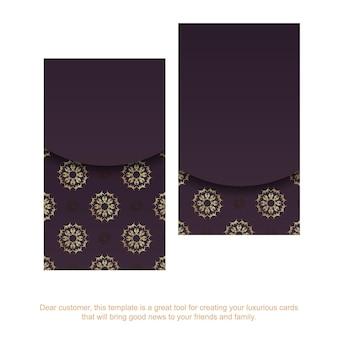 Cartão de visita cor de vinho com ornamentos de ouro indiano para a sua marca.