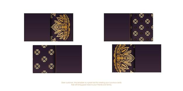 Cartão de visita cor de vinho com padrão dourado vintage para a sua personalidade.