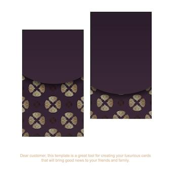 Cartão de visita cor de vinho com um padrão de ouro antigo para a sua personalidade.