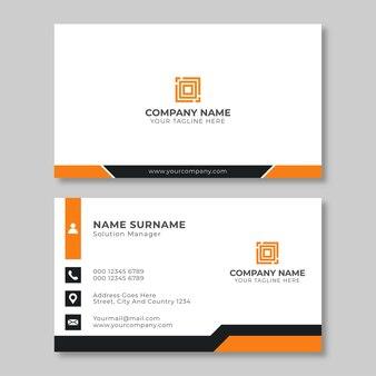 Cartão de visita corporativo clean flat design orange black