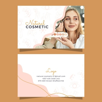 Cartão de visita cosmético desenhado à mão