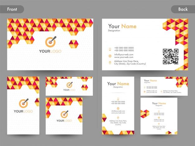 Cartão de visita criativo, cartão de visita ou cartão de nome com a vista da página anterior e posterior.