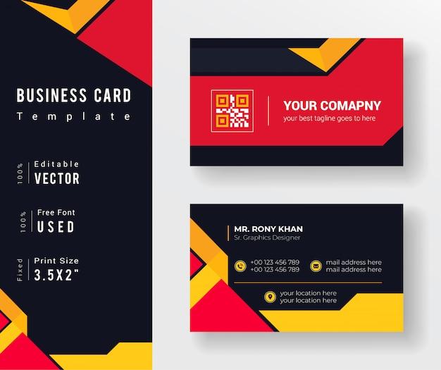 Cartão de visita criativo colorido amarelo