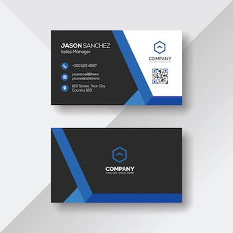 Cartão de visita criativo com detalhes azuis