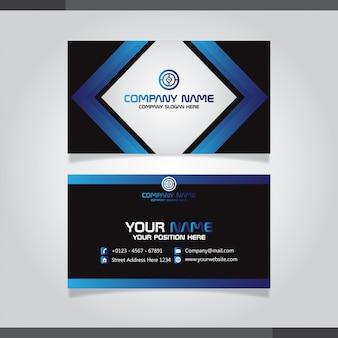 Cartão de visita criativo moderno azul e cartão de nome