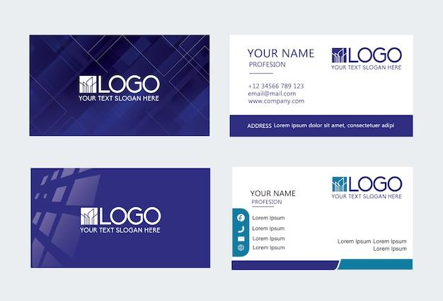 Cartão de visita criativo moderno azul escuro e cartão de nome, modelo limpo simples horizontal
