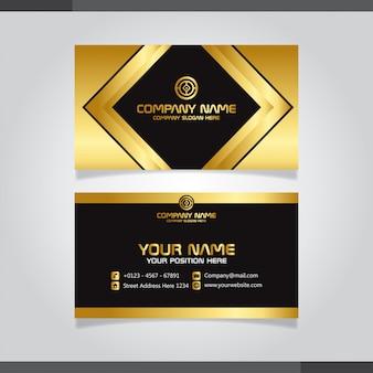 Cartão de visita criativo moderno ouro e preto e cartão de nome