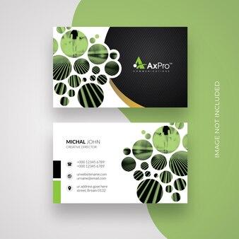 Cartão de visita criativo preto com cricle Vetor Premium