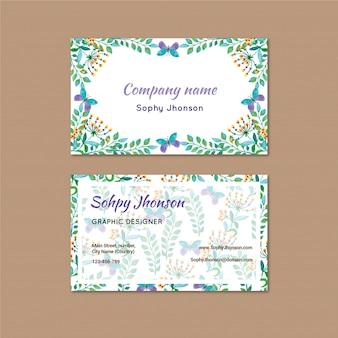 Cartão de visita da aguarela com flor