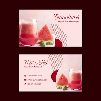 Cartão de visita da barra de smoothies