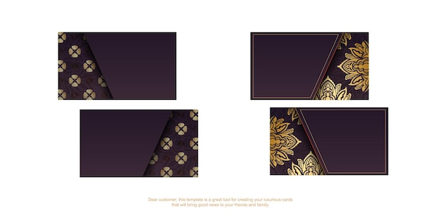 Cartão de visita da borgonha com luxuosos ornamentos de ouro para seus contatos.