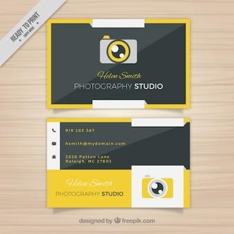 Cartão de visita da câmera amarelo