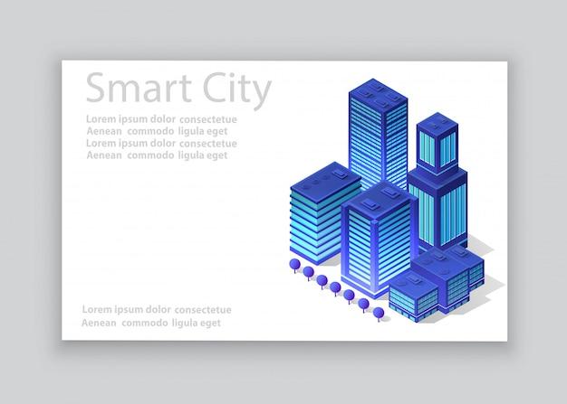 Cartão de visita da cidade isométrica