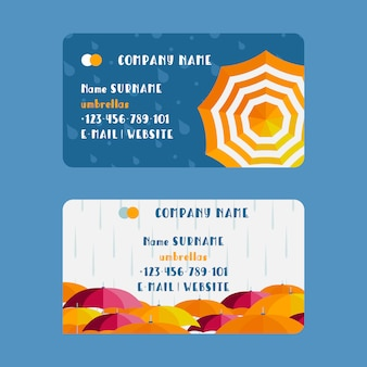 Cartão de visita da empresa de guarda-chuva