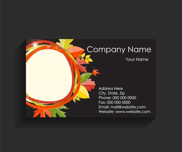 Cartão de visita da empresa em fundo preto. ilustração vetorial. eps10