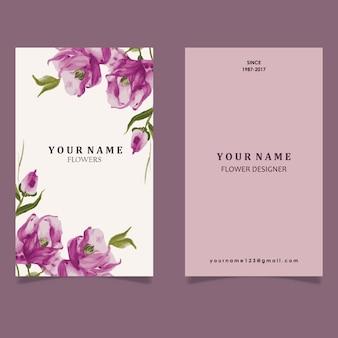 Cartão de visita da flor roxa da aguarela desenhada mão