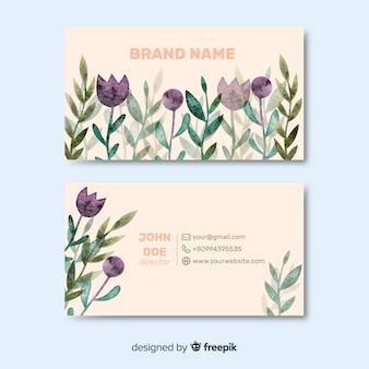 Cartão de visita das flores da aguarela