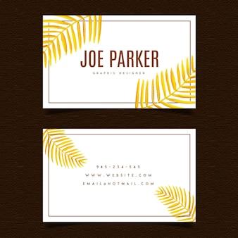 Cartão de visita das folhas douradas