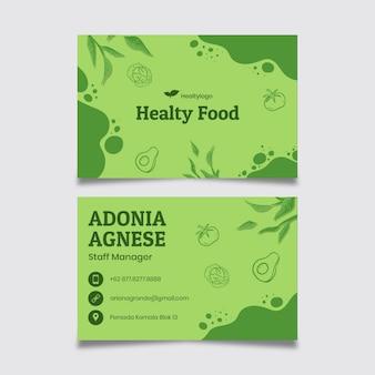Cartão de visita de alimentos bio e saudáveis Vetor Premium