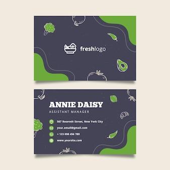 Cartão de visita de alimentos bio e saudáveis