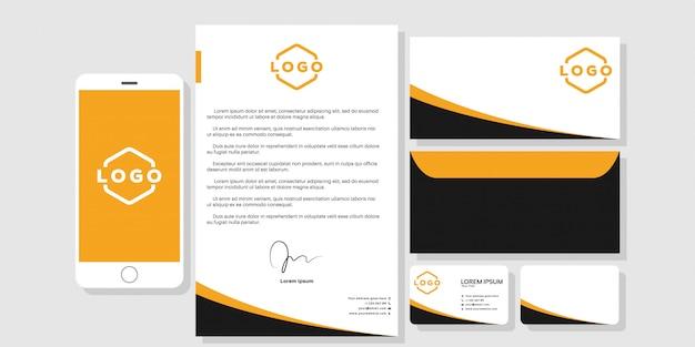 Cartão de visita de artigos de papelaria branding modelo vetor de modelo