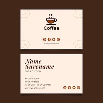 Cartão de visita de café de qualidade premium horizontal