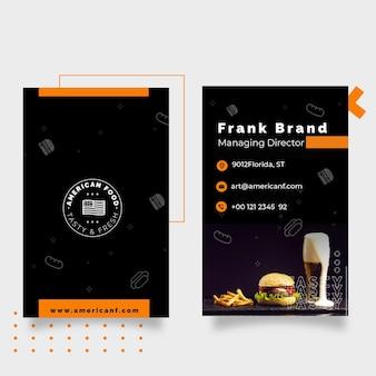 Cartão de visita de comida americana