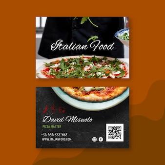 Cartão de visita de comida italiana