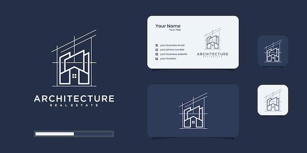 Cartão de visita de construção e design de logotipo