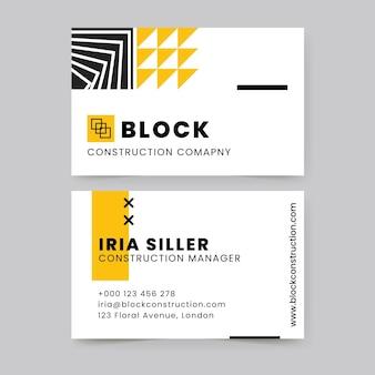 Cartão de visita de construção geométrica moderna