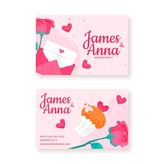 Cartão de visita de convite de casamento