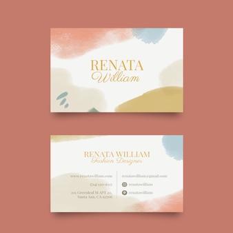 Cartão de visita de cores pastel e manchas