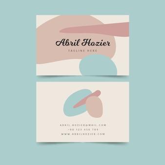 Cartão de visita de cores pastel e pinceladas