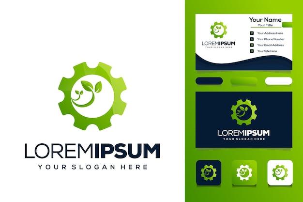 Cartão de visita de design de logotipo de folha de engrenagem