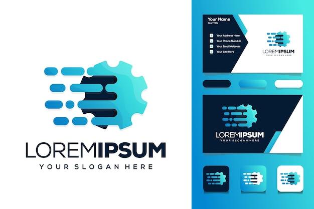 Cartão de visita de design de logotipo de tecnologia de engrenagem