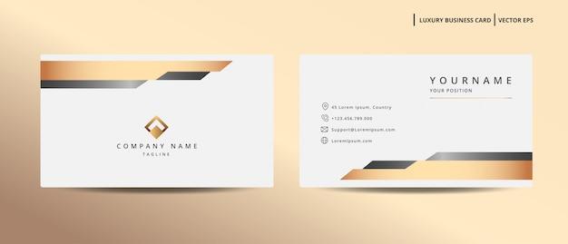 Cartão de visita de design de luxo com modelo minimalista de estilo ouro
