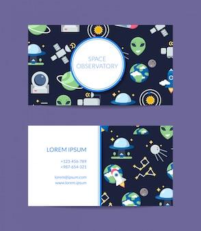 Cartão de visita de espaço plano para observatório