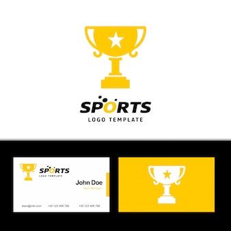 Cartão de visita de esportes com tema amarelo e branco