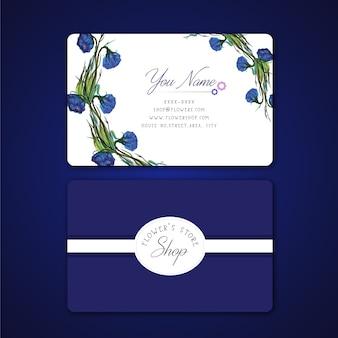 Cartão de visita de flores azuis