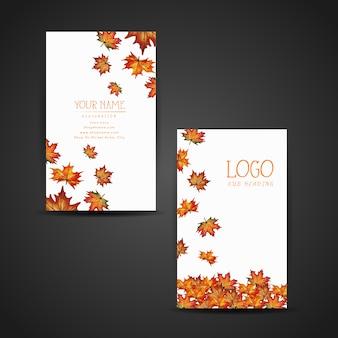 Cartão de visita de folhas de outono
