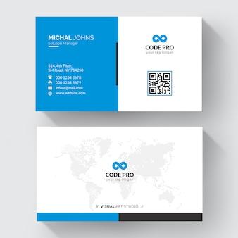 Cartão de visita de forma azul
