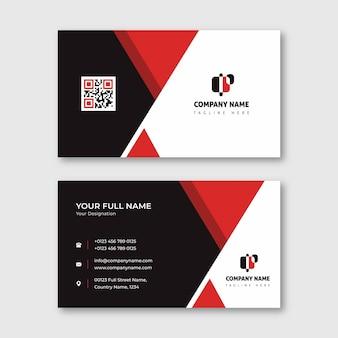Cartão de visita de forma de triângulo vermelho e preto