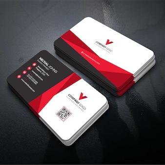 Cartão de visita de forma vermelha
