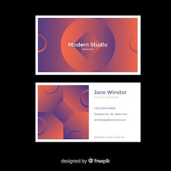 Cartão de visita de formas gradiente duotone