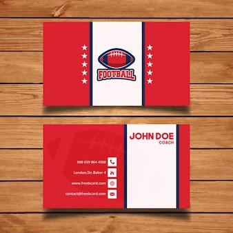 Cartão de visita de futebol americano vermelho