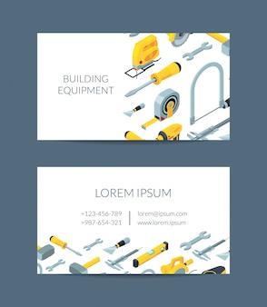 Cartão de visita de ícones isométricos de ferramentas de construção para loja de ferragens