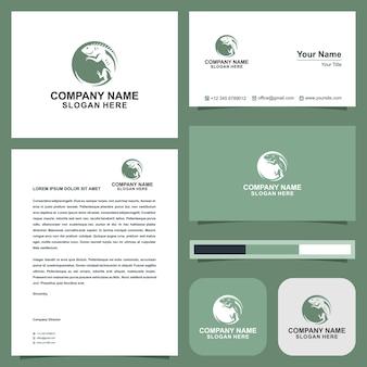 Cartão de visita de ilustração de design de logotipo camaleão